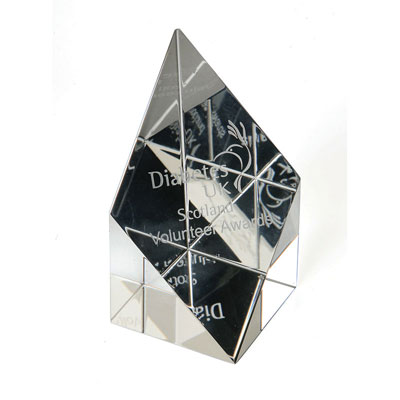 Image of 7.5cm Optical Crystal Sloping Diamond