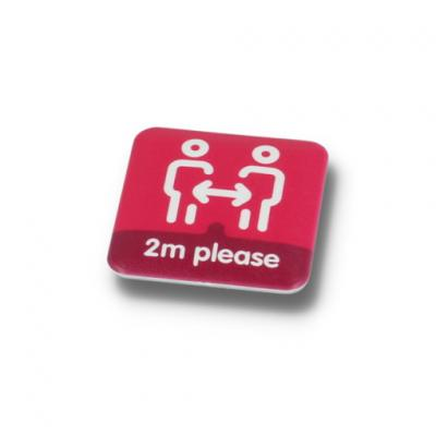 Image of SOCIAL DISTANCING BUTTON BADGE - 37MM SQUARE